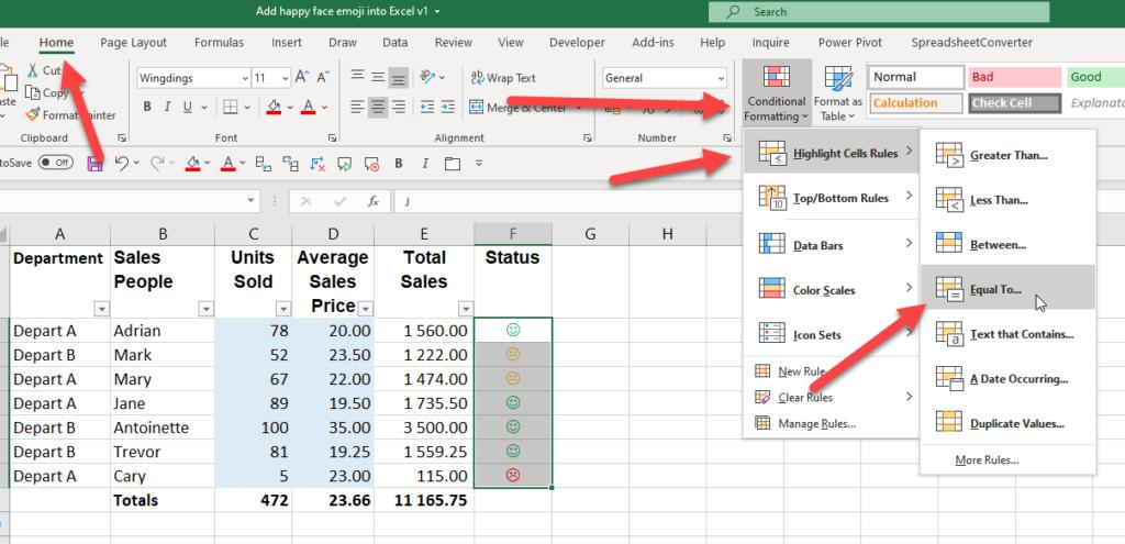 Add happy face emoji into Excel