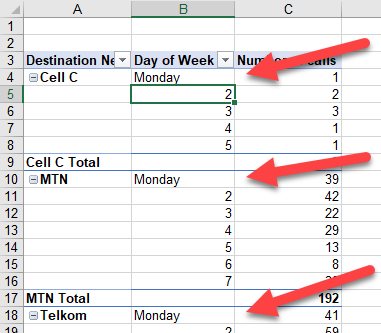 Change the name of items directly in the Pivot Table