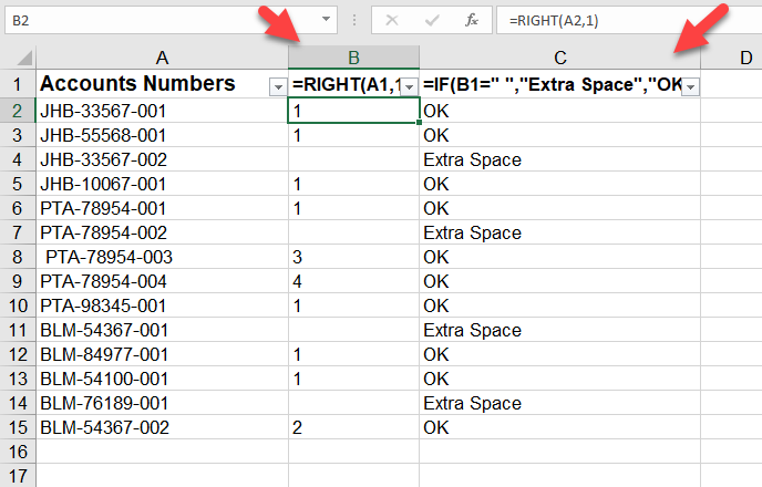 Find space from right in Excel cell