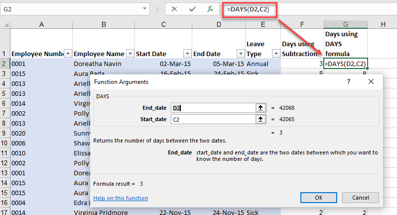 Excel date difference