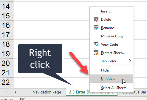 Unhide multiple sheets in Excel at the same time