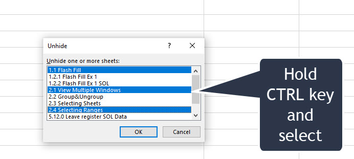 Unhide multiple sheets in Excel at the same time- non-adjacent
